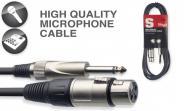 Mikrofonkabel 3.0m schwarz, XLR/Klinke Stagg SMC3XP